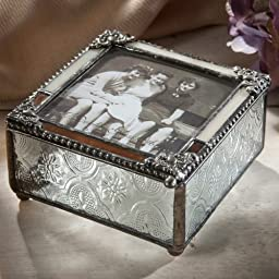 J Devlin Pbox 320 Stained Glass Picture Box Brown and Ivory Opalescent 3x3 Photo Frame on Top