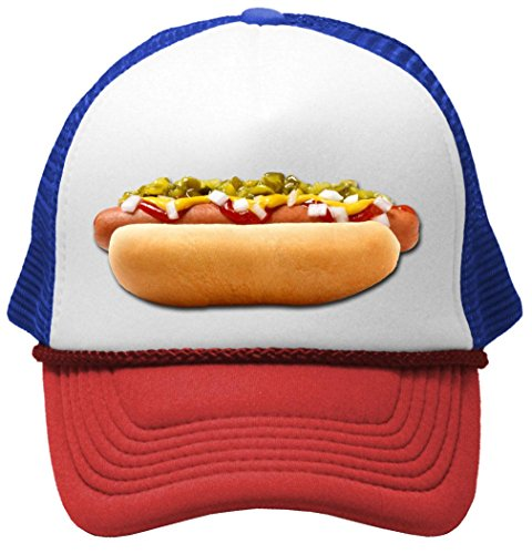 HOT DOG - concession truck fair carnival snack food Mesh Trucker Cap Hat, RWB (Concession Snacks compare prices)