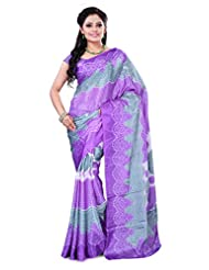 Alethia Purple Crepe Daily Wear Printed Sarees With Blouse Piece