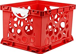 Storex Large Storage and Filing Crate with Comfort Handles, 17.25 x 14.25 x 10.5 Inches, Red/White, Case of 3 (STX61742U03C)