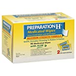 Preparation H Medicated Wipes, Maximum Strength Formula, with Aloe, 96 ct.