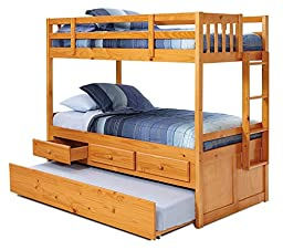 Twin-over-Twin Bunk Bed with Trundle and Storage Drawers