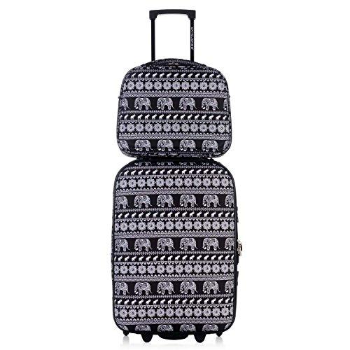 DAVIDJONES Upright Carry-on & Travel case 2 Piece Luggage Set-Lettre Capitales (Giraffe Garment Bag compare prices)