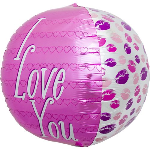 I Love You Kisses Sphere Helium Foil Balloon - 17 inch