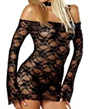 Wingler Lingerie Women Lace Courtesan See Through Long Sleeve Chemise Adlut A168