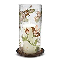 Let it Shine by Pavilion 10-1/2-Inch Tall Hurricane Candle Holder Crackled Glass Candle not Included