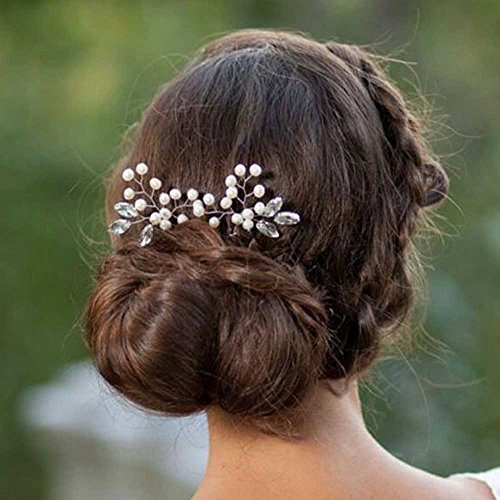 Venusvi Wedding Hair Pins for Bride- Bridal Hair Accessories for Bridesmaids and Flower Girls(pack of 2)