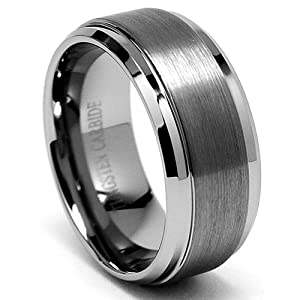 9MM High Polish / Matte Finish Men's Tungsten Ring Wedding Band Size 10