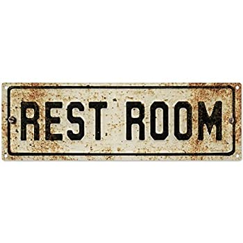 Restroom Embossed Look Rusted Bathroom Metal Sign Vintage Style 18 x 6