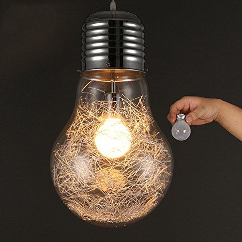 KJLARS Lampadario/Lampada da sospensione in retrò vintage industriale Stile Illuminazione in vetro blub