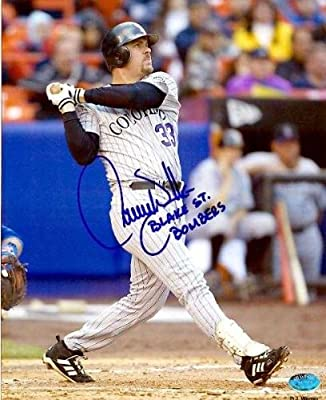 "Larry Walker autographed 8x10 Photo (Colorado Rockies) inscribed ""Blake Street Bombers"""