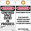 "NMC RPT126G ""DANGER - CONFINED SPACE ENTRY IN PROGRESS"" Accident Prevention Tag with Brass Grommet, Unrippable Vinyl, 3"" Length, 6"" Height, Black/Red on White (Pack of 25)"