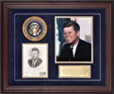 John F. Kennedy Framed Photograph | Details: 8x10, 5-29-64 1st Day Cover, Presidential Seal, Commemorative Plate