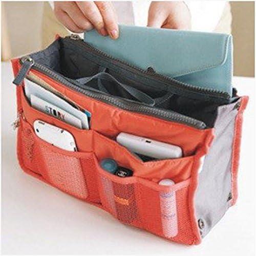 すっきり きれいに 収納 バッグ イン バッグ お出かけ 旅行 収納 アイテム などに (オレンジ)