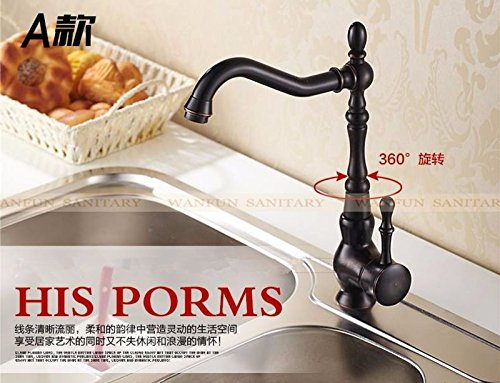 Euro Retro Oil Rubbed Black Bronze Swivel Singe Handle Bathroom Basin Kitchen Deck Mounted Sink Mixer Tap Faucet (Two Seater Hot Tub compare prices)