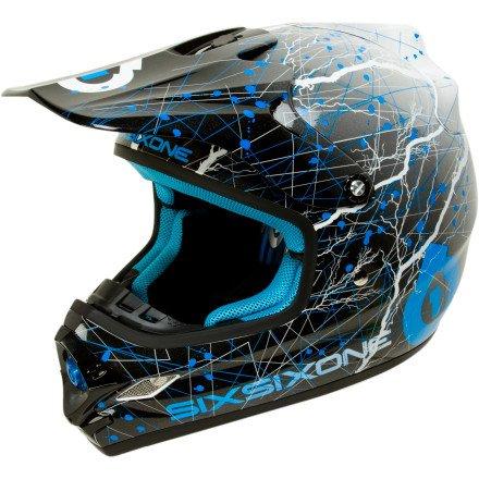 Six Six One Flight II Full Face Helmet Black/Cyan, XXL