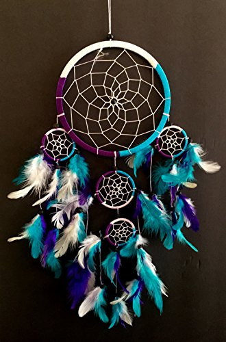OMA Dream Catcher - Hand Crafted Traditional Tie Dye Colors Turquoise, Purple & White Feathers - 7