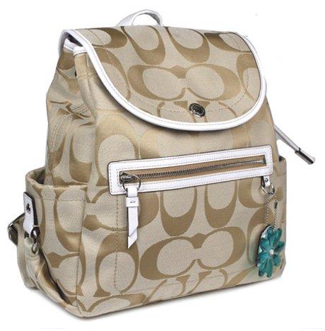 Coach Light Khaki Signature Sateen Daisy Backpack Bag Coach 16556KW