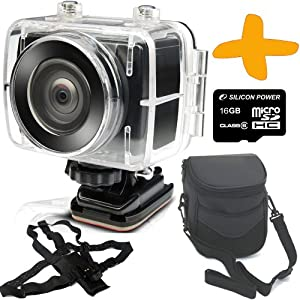 """Swann Freestyle 1080P HD Action Camera + 16GB + Case + Chest Mount Bundle. Bike Camera, Helmet Camera, Dive Camera. Waterproof / High Definition 1080p video recording at 30 fps / 8MP Still Camera / Removable 1.5"""" LCD Screen."""