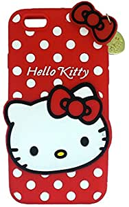 ARNAV Designer Soft Back Cartoon Cover Case Sillicon 3D For Iphone 6G-HKWITHPENDANT-Red