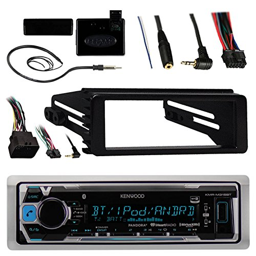 Kenwood KMRM315BT Marine Radio Stereo Bluetooth Receiver Bundle, 1998 2013 Harley Davidson Motorcycle Touring Flht Flhx Flhtc + Adapter Install Dash Kit + Handle Bar Control + Enrock Wire Antenna
