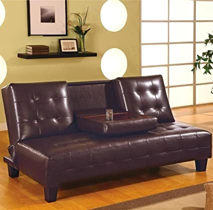 Coaster Dark Brown Faux Leather Sofa Bed w/ Drop Down Console