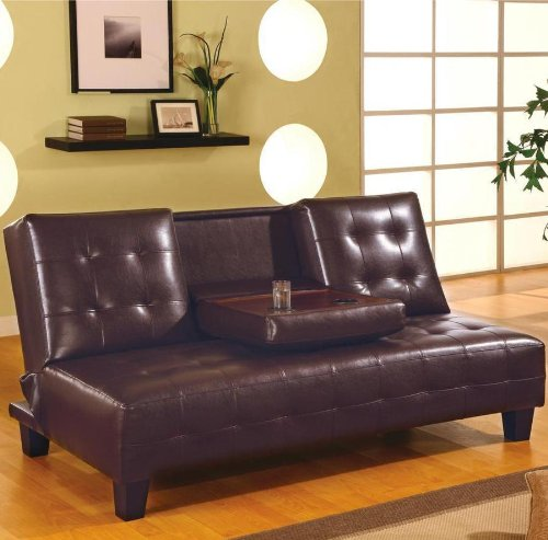 Button Tufted Brown Sofa Bed back-905003