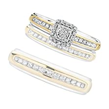 buy Two-Tone Square Diamond Engagement Ring 1/6Ctw - Size 7