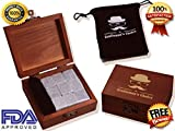 Premium Whiskey Stones By Gentlemans Choice - Set of 9 Chilling Rocks - 100% Pure Soapstone - Packaged in an Exclusive Wooden box + Free Velvet bag & 8 Ebooks Bonus - Perfect Gift For Any Occasion