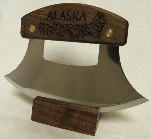 """Alaskan Ulu, Inupiat Style With """"Dogsled Team"""" Etched Walnut Handle, 6"""""""