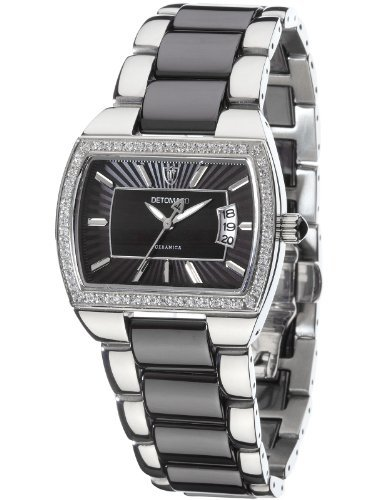 Detomaso Colorato Women's Quartz Watch with Black Dial Analogue Display and Silver Ceramic Bracelet DT3009-B