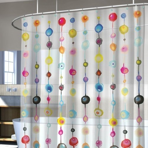 Splash Bath Scintilla Retro Beads Geo Bulbs Multi Color Vinyl Shower Curtain With 12 Piece Roller Hook Set