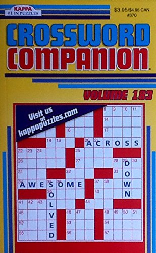 Crossword Companion Vol. 183 ~ Crossword Puzzles Book Volume 183