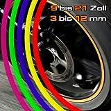 eDesign24 Felgenrandaufkleber Felgenaufkleber Felgenringe für Auto & Motorrad erhältlich in 3 - 12 mm Breite 19 Zoll rot rot 19 Zoll