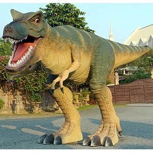 Lebensgroßer T-Rex in Angriffshaltung Gartendeko