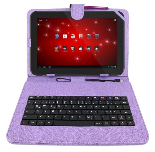 DURAGADGET Durable Purple Faux Leather Protective Case Cover With Micro USB German Keyboard & Built In Stand For Toshiba AT 100, Toshiba Excite 10, Toshiba Excite 10 LE, Toshiba Excite 10se, Toshiba Excite Write & Excite Pure