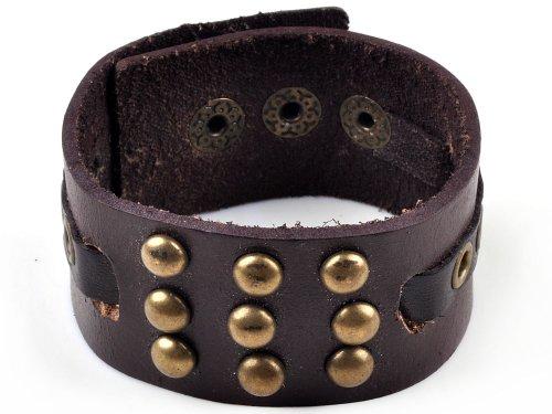 imixlot Men's Three Rows Rivet Punk Classic Brown Leather Bracelet Bangle Unisex Wristband