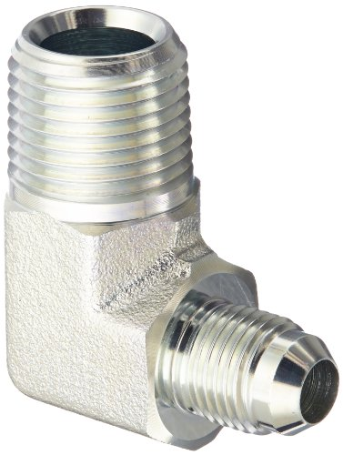 "Eaton Weatherhead C5405X6X8 Carbon Steel SAE 37 Degree (JIC) Flare-Twin Fitting, 90 Degree Elbow, 1/2"" NPT Male x 3/8"" JIC Male"