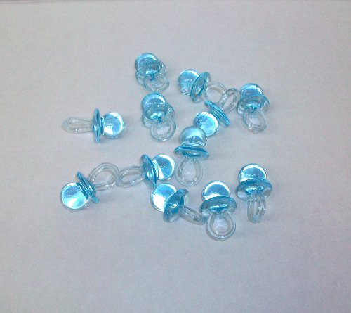 24 Blue Plastic Pacifiers Baby Shower Favor 1.5 Inches Long front-1047365