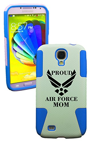 Phonetatoos (Tm) For Galaxy S4 Proud Airforce Mom Plastic & Silicone Case- Lifetime Warranty (Baby Blue)