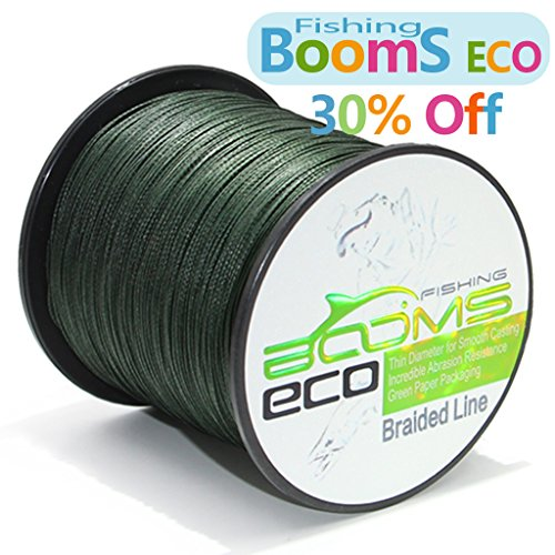 Booms eco 300yard green 20 lb 100 uhmwpe braided fishing for 20 lb braided fishing line