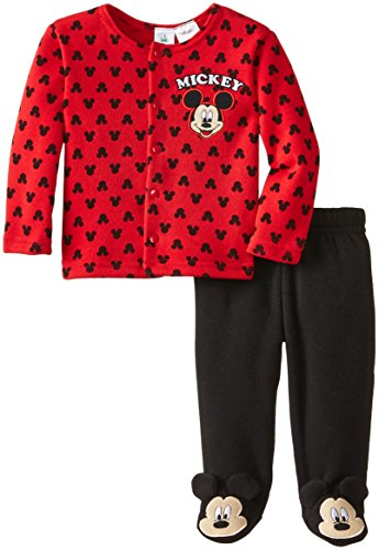 Disney Baby Boys Newborn Mickey Mouse Jacket And Footed Pant Set, Red, 0-3 Months front-991607