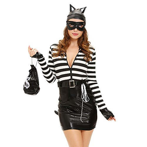 [Slocyclub Women Black Stripe Sexy Rat Halloween Dress] (Sexy Halloween Costumes Canada)