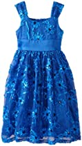 Bonnie Jean Girls 7-16 Blue Bonaz Mesh Dress, Royal, 12
