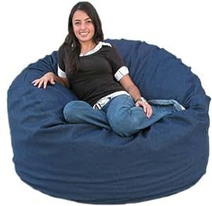 cozy sack 4 feet bean bag chair large denim kitchen home. Black Bedroom Furniture Sets. Home Design Ideas