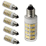 BqhyE11 Dimmable Mini Candelabra E11 Base T4 JD 110V LED Halogen Replacement Bulb, 5W, 50W Equivalent, Warm White 3000K, 5-Pack