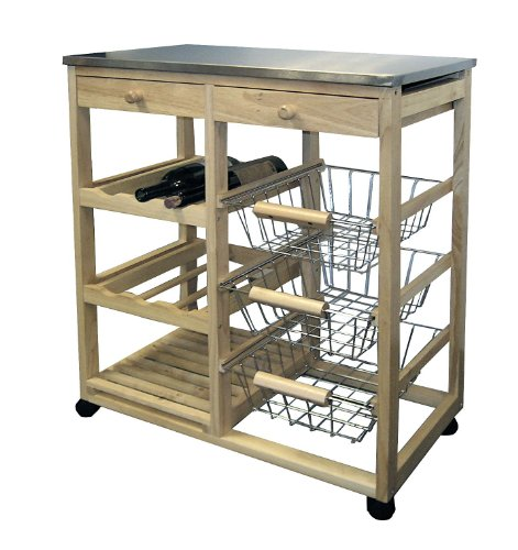NEW Wood & Steel Kitchen Utility Island Kitchen Cart Table