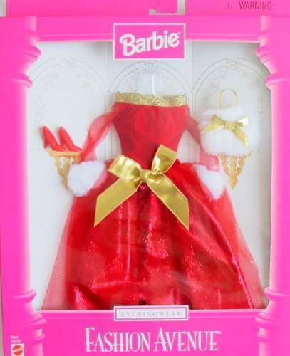 BARBIE-FASHION-AVENUE-Fashions-EVENING-WEAR-GOWN-w-GOLD-Faux-FUR-TRIM-ACCESSORIES-1997-by-Barbie