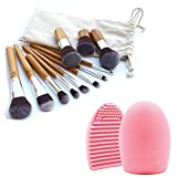 Comier Bamboo 11pcs Kabuki Makeup Brush Sets Cosmetics Foundation Blush Eyeliner Face Powder Accessories Tools Kit with Wooden Brushs and Cloth Bag +Brush Cleaning Tool Foundation Brush Tool+ Brush Cleaning Tool