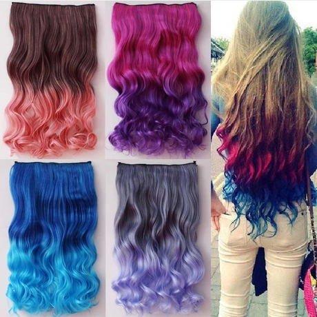 Orino Beauty™ Women Ladies Rose&Purple Long Curl Wavy 5 Clips In Hair Extensions Wigs(Obw-#009)